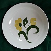 "Blue Ridge Southern Potteries Large 10"" Yellow Floral Fluted Bowl"