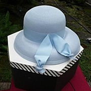 "Baby Blue Vintage 1950's~1960's Wide Brimmed Woven Hat 21 1/2"" With Box Adorable"