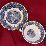 REDUCED Booths Staffordshire England British Scenery Blue Transferware Creme Soup & Underplate
