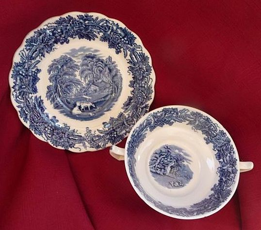 Booths Staffordshire England British Scenery Blue Transferware Creme Soup & Underplate