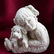 "Austin Products Dee Crowley 1987 Bright Eyes Girl & Puppy 5"" Sculpture~Figurine"