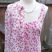 Byer Vintage 1970s~1980s Pink Floral Fun & Flirty Sheath Dress with Shrug Jacket 10