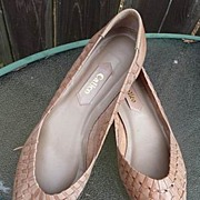 Calico Vintage 1980's Tan Woven Flats Leather 7 1/2M