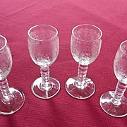 SOLD Cambridge Glass Beautiful Vintage Elegant Crystal Floral  Etched Cordial Stem # 3112 Set
