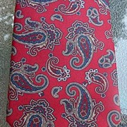 Christian Dior Men's Vintage Designer Dark Red and Navy Blue Paisley 100% Silk Tie