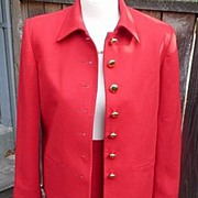 Christian Dior Designer Vintage 1980's Red Wiggle Skirt and Jacket Suit Set Size 8