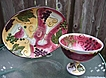 Vintage Very Large Colorful Clay Art China 9&quot; Compote & 17&quot; Platter~Pasta Bowl Mint!