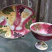"Vintage Very Large Colorful Clay Art China 9"" Compote & 17"" Platter~Pasta Bowl Mint!"