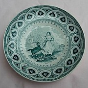 Cork, Edge, Malkin, Staffordshire, England 1850 Child's Saucer Dancing Goat Transferware