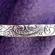 Danecraft Vintage Feathers & Swirls Sterling Silver Bangle Bracelet  1/4""