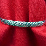 Danecraft Sterling Silver Vintage Bangle Bracelet Slanted Design 1/4""