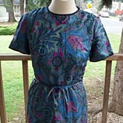 Lovely Vintage Designer Tailor Made by Tanner Paisley Silk Wiggle Dress 10/12 1950s ~ 1960s