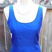Adorable Vintage 1960s~1970s Designer Divine Sarah Royal Blue 100% Silk Wiggle~Mini Dress 6/8