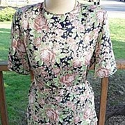 Beautiful Vintage Designer Evan-Picone Liquid Satin Floral Skirt & Blouse Set Medium 1970s~198