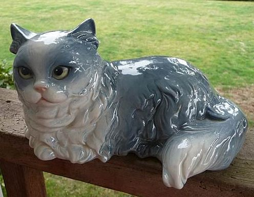 "Beautiful Vintage Large 8"" Goebel West Germany Gray & White Long Hair Cat"