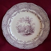 Ridgways Humphreys Clock Charles Dickens Old Curiosity Shop Mulberry~Purple Transferware Lunch