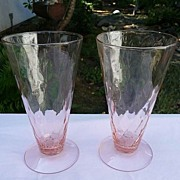 Jeanette Glass Vintage Depression 1928~1932  Hex Optic~Honeycomb Pink 10 oz Water~Iced Tea ...