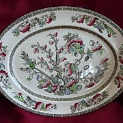 "Johnson Brothers England Vintage Ironstone Transferware Indian Tree 12"" Platter"