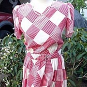 Jonathan Martin Vintage 1970's~1980's Red & White Checked Dress L/XL
