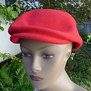 SALE Lancaster Vintage 1970's 100% Red Wool Beret~Newsboy Cap 22 1/2""