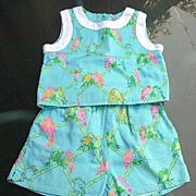 Lilly Pulitzer Vintage Girls Turquoise Short Set Size 6 Parrots