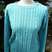 Lilly Pulitzer Vintage 1980s Turquoise Cable Knit Cotton Pullover Sweater Medium