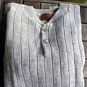 Lord & Taylor Vintage 1970's~1980's Men's Gray Knit Cotton Ribbed Sweater Large~X Large
