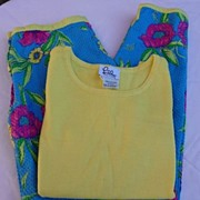 Designer Lilly Pulitzer Vintage 1980s Sleeveless Cotton Shell & Floral Capri's Medium
