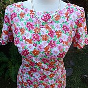 Maggie London Vintage Cotton 1980's Floral Day Dress 8/9 Medium