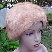 Bon Marche Vintage 1960's~1970's Autumn Haze Natural Mink Hat 22""