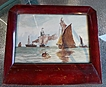 Antique Small Maritime Water Color Painting & Mahogany Frame