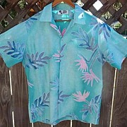 Men's Vintage 1970's Hilo Hattie Turquoise Cotton Aloha~Tiki Shirt Size Medium / Large