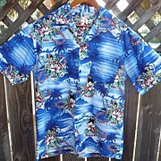Men's Vintage Aloha Republic Blue Hula Girl Tropical Cotton Shirt M/L