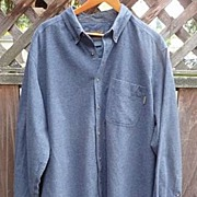 Men's Vintage 1980's Woolrich Heavy Blue Cotton Long Sleeve Shirt XL