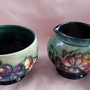 Moorcroft Vintage 1936~1950 Stunning Spring Flowers Very Rare Original Set Footed Cream~Milk .