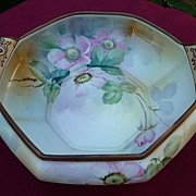 Nippon Morimura Vintage Hand Painted Pink Floral With Jewel Handled Octagonal Bowl 9""