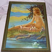 "Nude Young Woman On Beach Vintage Art Deco 1920's~1930's Art Print & Frame 13 1/2"" X 17 1"