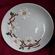 SOLD Orchard Ware California USA Vintage Mid Century Hand Painted Dogwood Dinner Plates 10 1/2