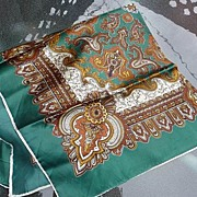 Lovely Green & Gold Vintage Paisley Scarf 29 X 29