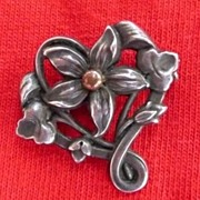 Period Art Nouveau Sterling Silver Flower Brooch ~ Pin Hallmarked