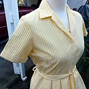 Perry Designer England Vintage1960's~1970's Yellow & White Gingham Shirtwaist Dress 8/10