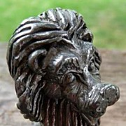 Adorable Small Pewter Lion Figurine
