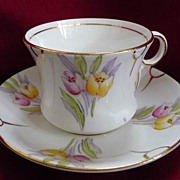 Phoenix Bone China Thomas Forster & Sons Ltd. England Vintage Hand Painted Tulip Tea Cup & Sau