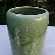 SALE Rookwood Pottery Vintage 1945 Apple Green Glossy Pillar Vase #6668 With Musician & Sheep