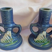 "SALE Roseville Art Pottery Vintage Pair Blue Freesia 4 1/2"" Candlesticks~ Candle Holders"