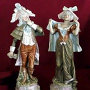 "Royal Dux Bohemia Pair 10"" Figurines Rococo Art Nouveau 18th Century Dress 1890~1918"