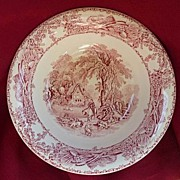 "Royal Staffordshire England Vintage Clarice Cliff Rural Scenes Pink Red Transferware 8"" S"
