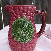 "Sadek Large Majolica 9"" Berry Pitcher Jay Willfred Portugal"