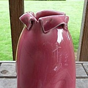 Sarreguemines France Utzchneider & Co. Majolica Dark Pink Rolled Rim Twisted Vase 6 3/4""