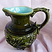 "Sarreguemines France Majolica Pottery 7"" Mythical Scene Jug Pitcher 1900"